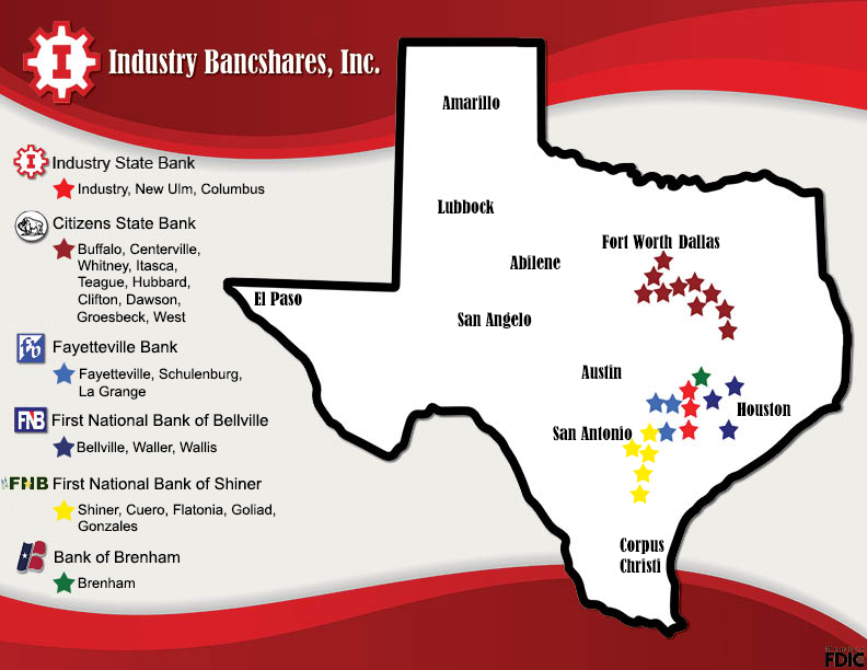 map of Texas showing withIndustry Bancshares companies indicated